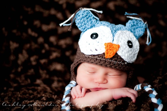 Blue and Brown Owl hat, Boy Owl Hats, 2T-6T, Toddler Owl Hat, Toddler Hat for boys, Crochet Owl hat