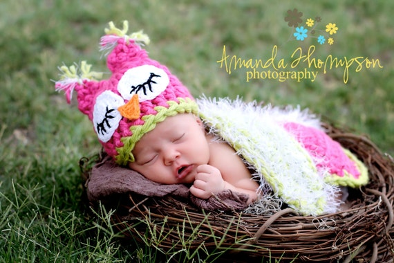 Baby Girl, Owl Hat, Owl Set, Photo Prop, Cape, Owl Cape, Photography Prop, MADE TO ORDER