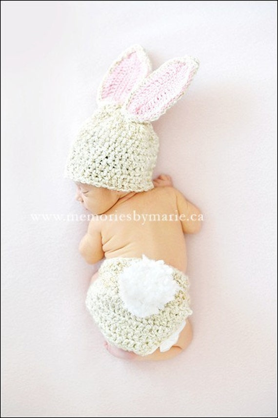 Bunny Hat, Bunny Set, Diaper Cover, Baby Girl, Baby Boy, Photo Prop, Photography prop, MADE TO ORDER