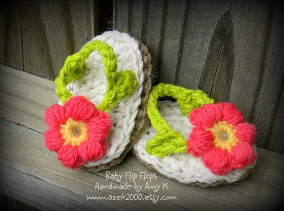 Baby Girl, Crochet baby booties, baby girl booties, flip flops, Sandles, 0-3, 3-6, 6-12 months MADE TO ORDER
