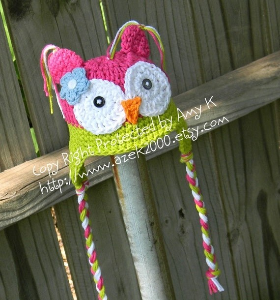 Pink and Green Toddler Owl hat, Toddler hats for girls, 2T-6T, Crochet hat for Toddler, Toddler Owl Hat, Girl Owl Hat