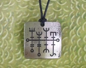 Viking Good Luck Rune Pendant, Stainless Steel Etched, Heilla-Hnutur, Large