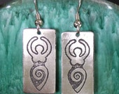 Goddess Earrings, Etched Stainless Steel - Transformation, Wisdom, Power, Life