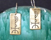 Wisdom Viking Rune Etched Brass Earrings - Fjolnir - Understanding, Knowledge