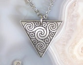 Celtic Triskelion Spirals Necklace, Etched Stainless Steel - Spirituality and Progress - Castledermot and Aberlemno