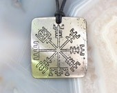RESERVED Viking Compass Stainless Steel Etched Pendant - See the Way Home, Traveller - Outline Design