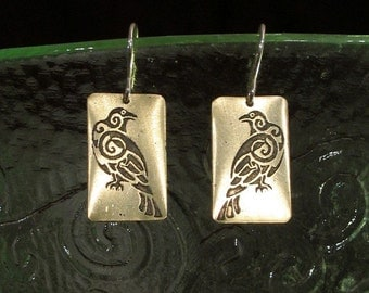 Odins Ravens Earrings, Etched Brass - Thought and Memory, Norse, Viking