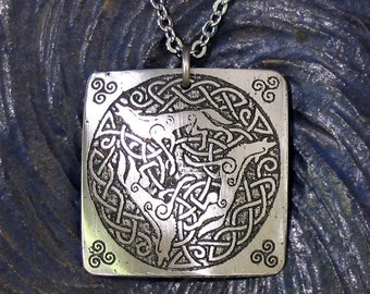 Celtic Wolves Necklace Stainless Steel Etched Metal - Loyalty, Intelligence, Ferocity, Moon