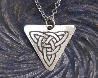 Celtic Trinity Knot Triquetra Necklace - Unity of Mind, Body, Spirit - Etched Stainless Steel Pendant on Chain