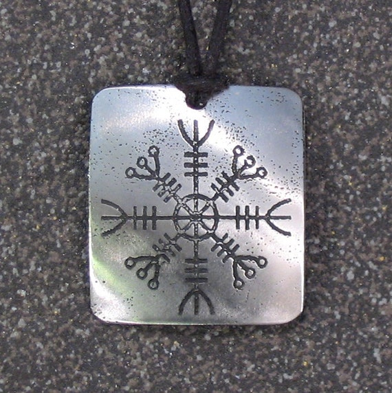 Helm of Awe Viking Pendant Stainless Steel Rune Etched - Protection, Invincibility Aegishjalmur - LARGE