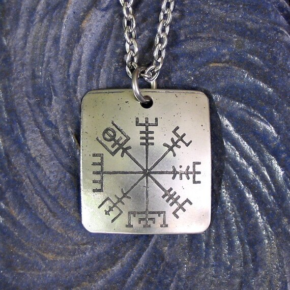 Viking Compass Necklace LARGE Stainless Steel Rune on Chain - See the Way Home, Traveler -  Vegvisir Viking Compass