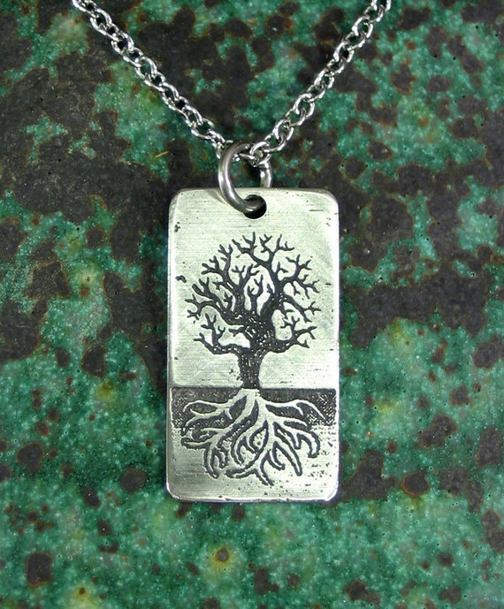 World Tree Necklace, SMALL Stainless Steel Etched - Norse Yggdrasil on Chain