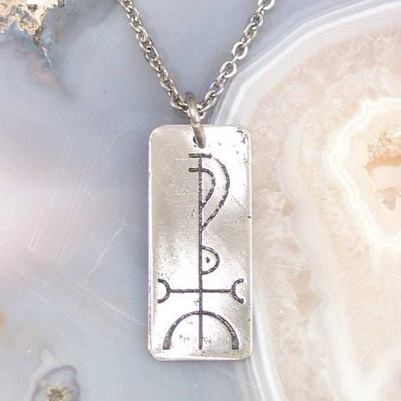 Wisdom Viking Rune Necklace, Stainless Steel - Fjölnir on Stainless Steel Chain