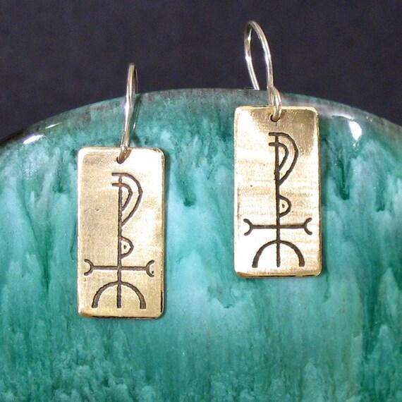 Wisdom Viking Rune Etched Brass Earrings - Fjolnir - Understanding, Knowledge