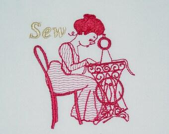 Gibson Girls (7) Machine Embroidered Quilt Blocks