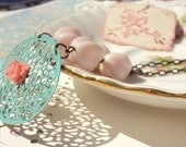 Meet Me At The Carousel - Vintage Beaded Flower Necklace