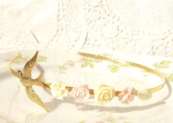 50% OFF - Flight - 22k Gold Sparrow and Flower Headband