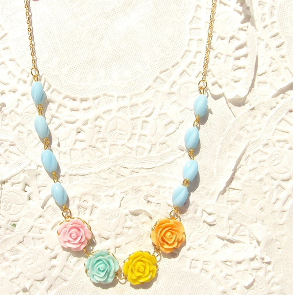 Beaded Flower Necklace - Whimsy - Whimsical - Romance - Bridal