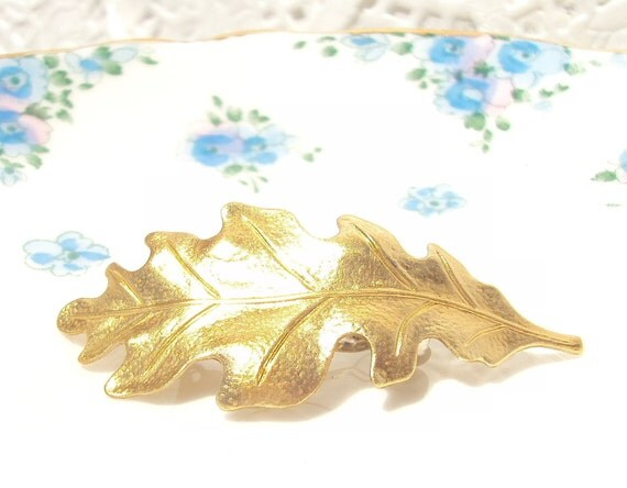 Medium Gold Leaf Hair Barrette - Woodland Collection - Whimsical - Nature - Bridal
