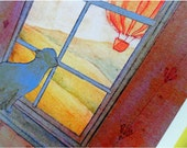 Soaring - A4 cat and hot air balloons watercolour reproduction