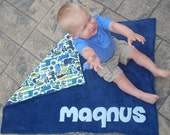 Personalized Baby Stroller Blanket with Zoo Animals in Navy Fleece