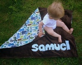 Personalized Baby Stroller Blanket in 2-D Zoo Brown with Light Blue