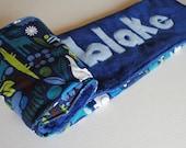 Handmade Personalized Baby Stroller Blanket in Navy Blue Zoo