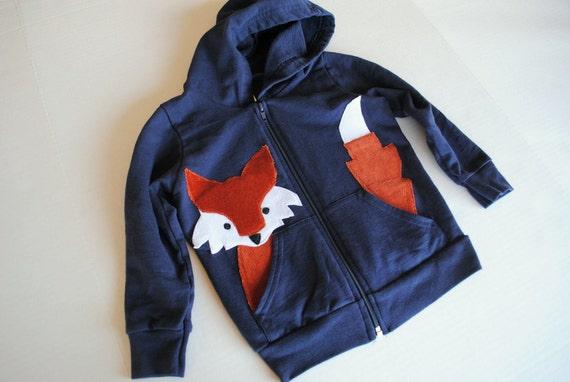 Fox Hoodie for Kids in Navy Blue