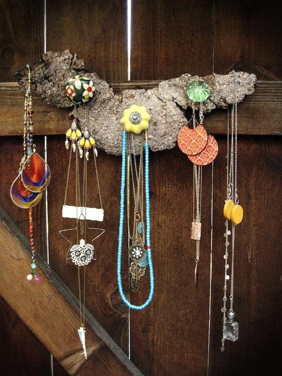 Wood knobby jewelry organizer/display - 3 knobs