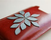 Leather iPhone Sleeve in Cherry Red