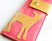 Leather Wallet in Coral Pink aka The Abigail