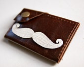 "Mustache Leather Wallet ""the Dave"" in Dark Chocolate Brown"