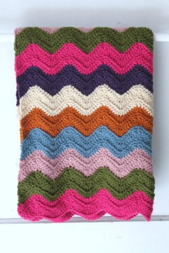 Baby Blanket Jewel Tone Ripple Striped Afghan for Baby Pram Blanket Chevron Stripe Baby Bedding for Crib Nursery