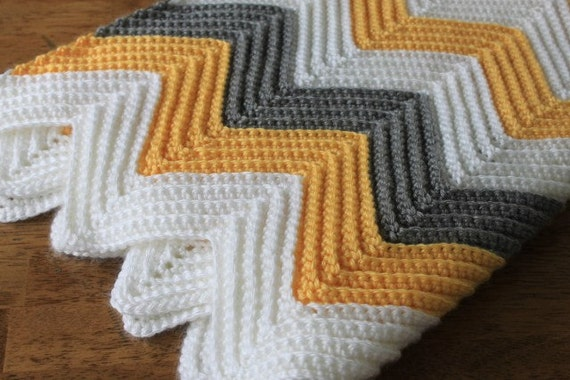 Items Similar To Mustard Yellow Chevron Baby Blanket