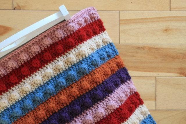 Crochet Pattern For Popcorn Stitch Baby Blanket : Items similar to PDF Pattern Hand Crocheted Popcorn Stitch ...