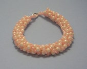 Pink and pearly Russian Spiral bracelet