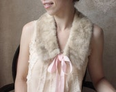 Simply Feminine- Vintage Fur Necktie with pale pink velvet ribbon