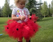 Tutu, Petti Tutu, Red Ladybug Tutu, Red Tulle, Black Pompoms, Posh Custom Petti Tutu, Toddler Tutus, Baby Petti Skirts, Red Satin Bow