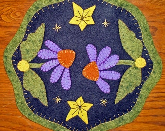 PURPLE CONE FLOWER - Penny Rug Trio  Instant DownloadPattern