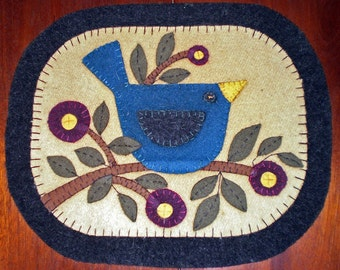 Instant Download Pattern - BLUE BIRD Penny Rug