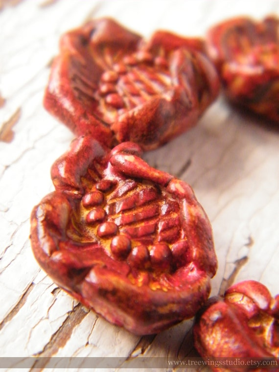 Dusty Rust Wild Rose bead (ready to ship)