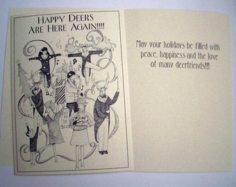 5 x 7 Holiday Happy Deers Are Here Again Boxed  Eco Friendly cards