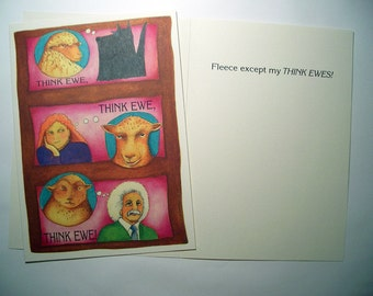 Think Ewe, Thank you cards  Three cards  5 x 7 Eco Friendly