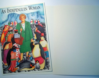 Indepenguin Woman... -  Three Eco friendly 5 x 7 Card