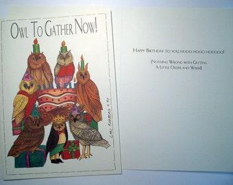 Owl Together Now  Birthday card Three 5 x 7 Eco Friendly cards