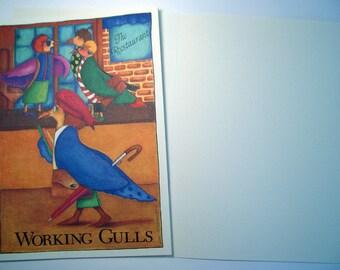 Working Gulls -  Three Eco friendly 5 x 7 Cards