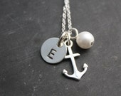 Personalized Silver Anchor Necklace - Custom Anchor Necklace - Personalized Anchor Necklace - Anchor Initial Necklace - Nautical Necklace