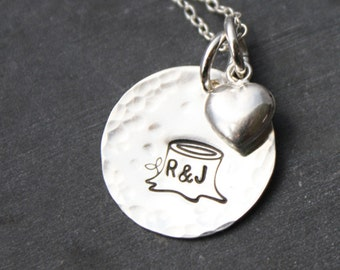 Personalized Tree Stump Necklace - With Carved Initials and Heart Charm