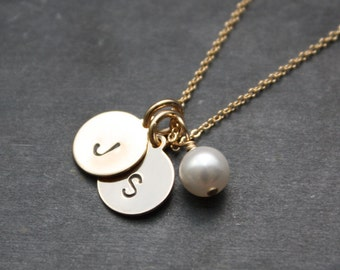 Two Gold Initial Charms Necklace - Two Custom Discs With Accenting Pearl Pendant