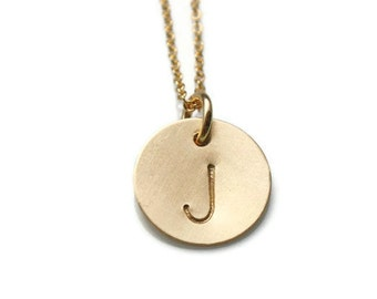 Gold Initial Necklace - Personalized Gold Initial Necklace - Gold Initial Charm Necklace - Custom Gold Initial Necklace